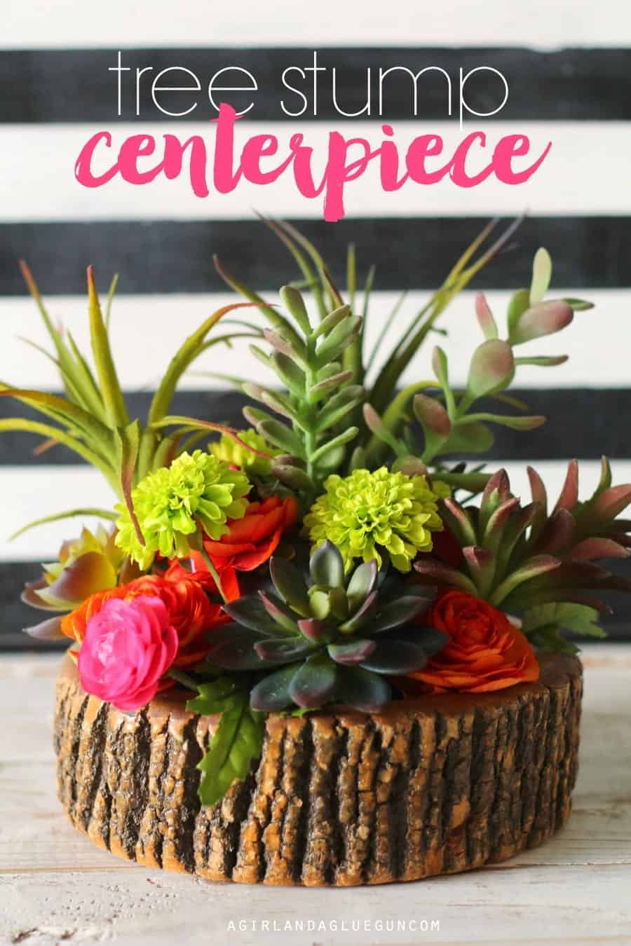 tree stump centerpiece