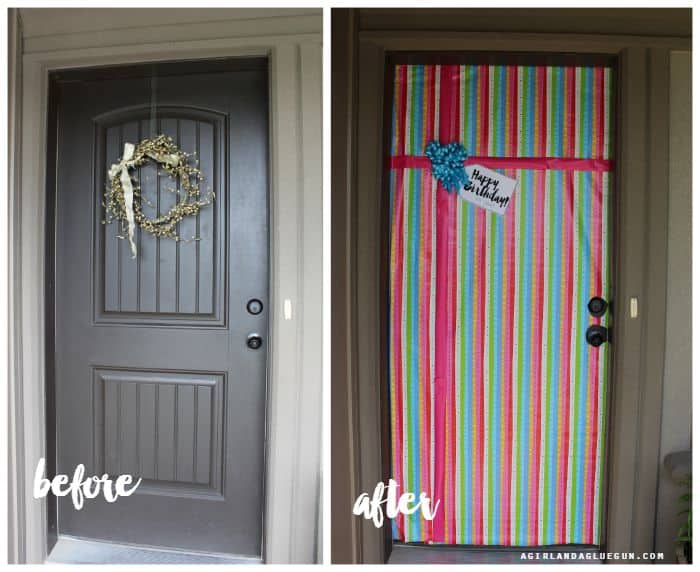 A Birthday Front Door A Girl And A Glue Gun