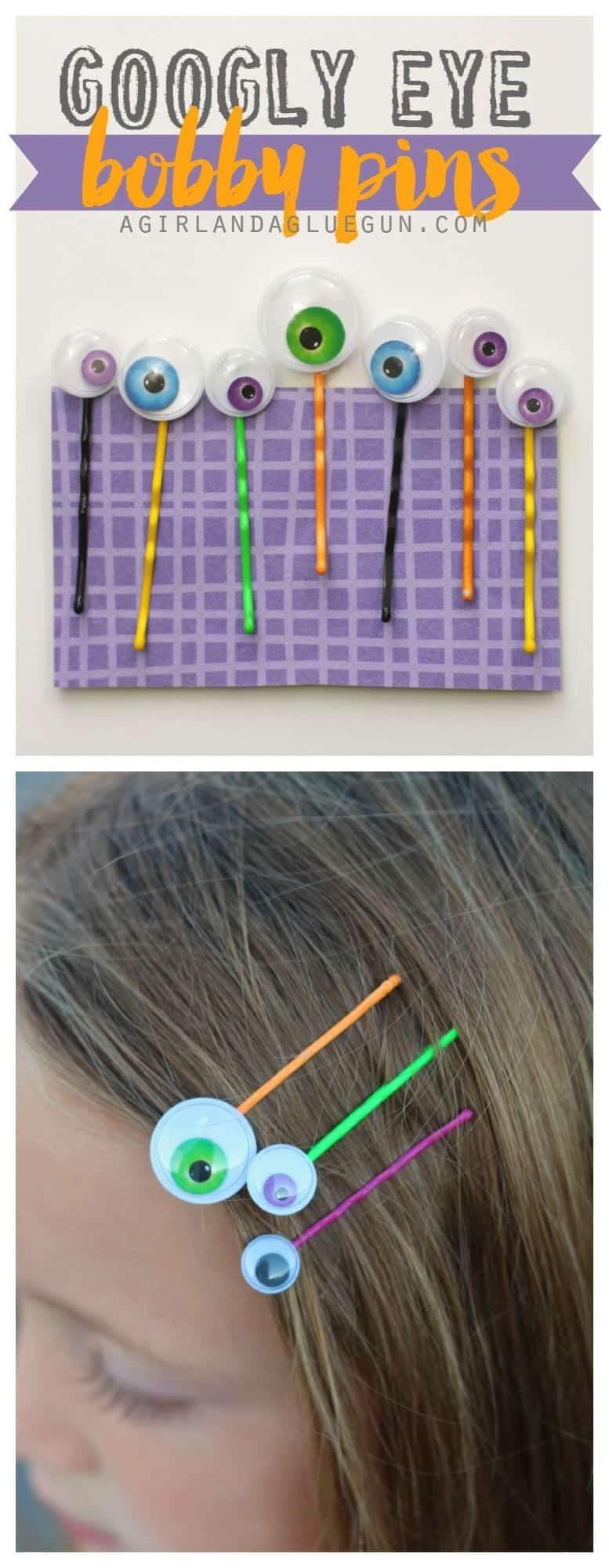 Googly eye bobby pins by a girl and a glue gun