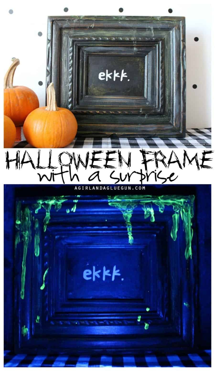 Halloween frame with a glow in the dark surprise
