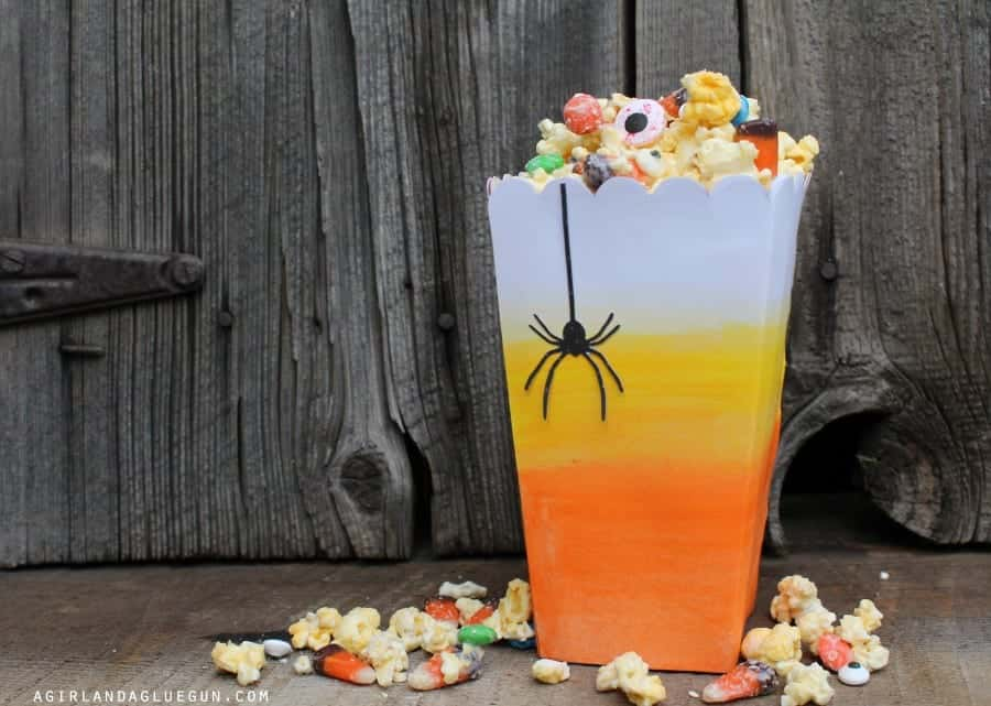 candy corn popcorn box with watercolors with white chocolate popcorn