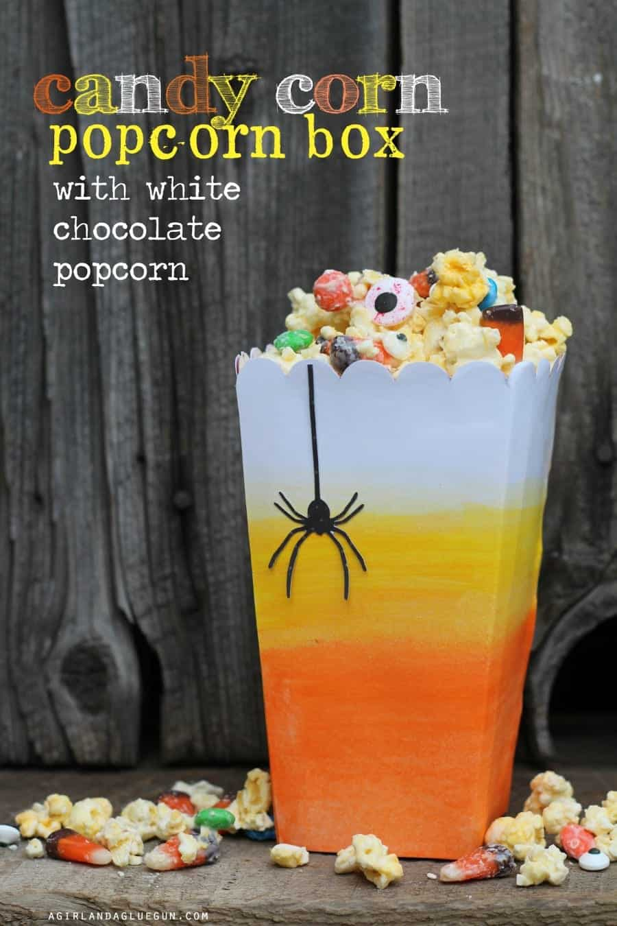candy corn watercolor popcorn box with white chocolate popcorn