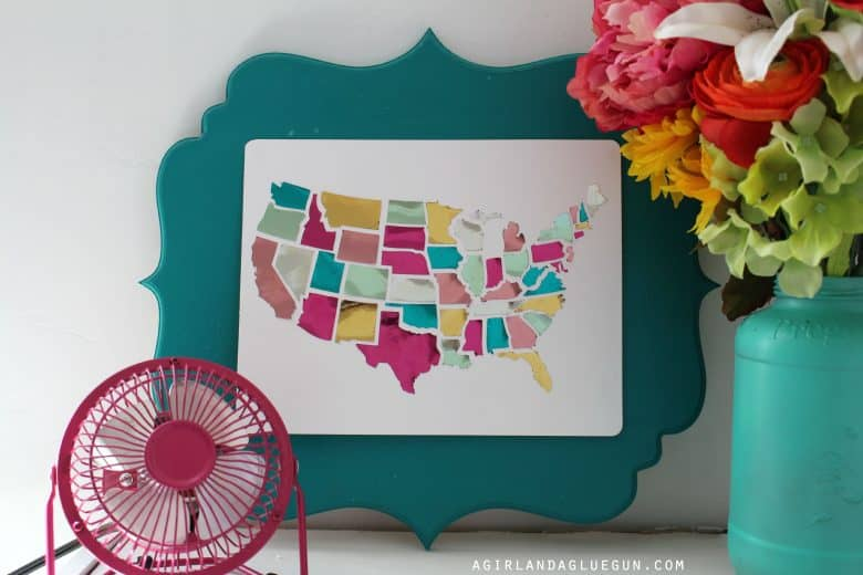 foiled minc united states in cut out frames - A girl and a glue gun