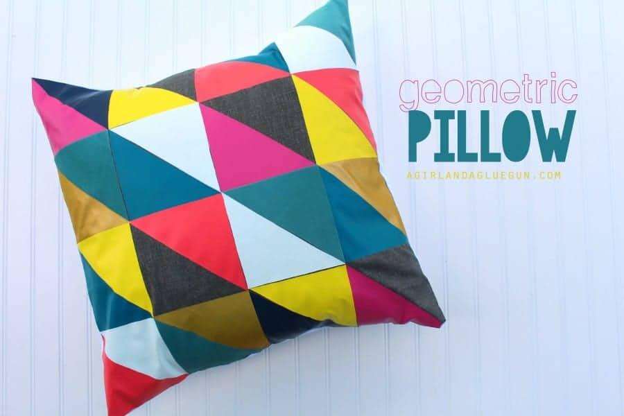 geometric pillow with iron on vinyl