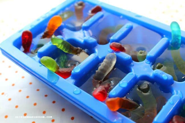 gummy worms in ice cubes