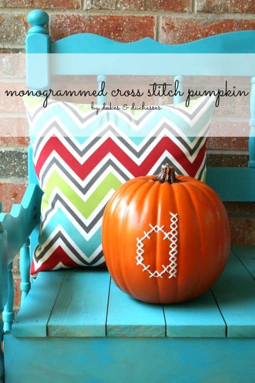 monogrammed-cross-stitch-pumpkin