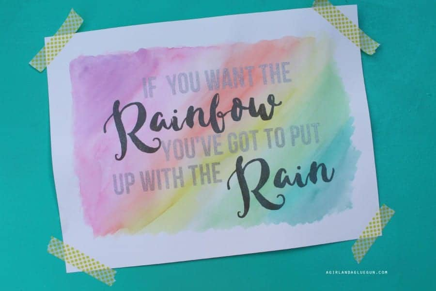 rainbow watercolor vinyl art