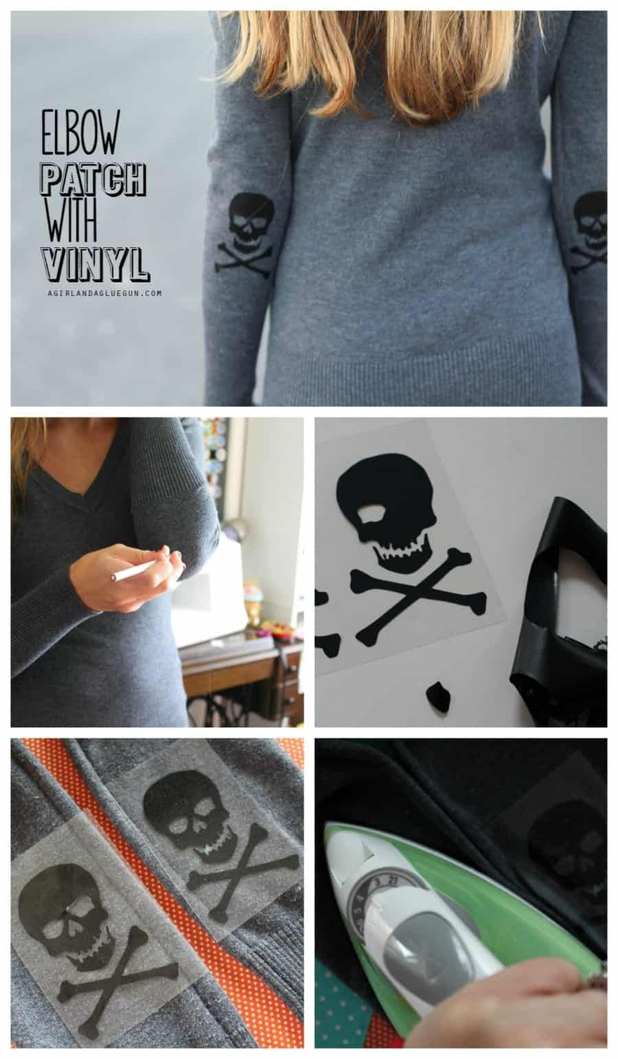 Add a fun elbow patch detail with expressions iron on heat transfer vinyl