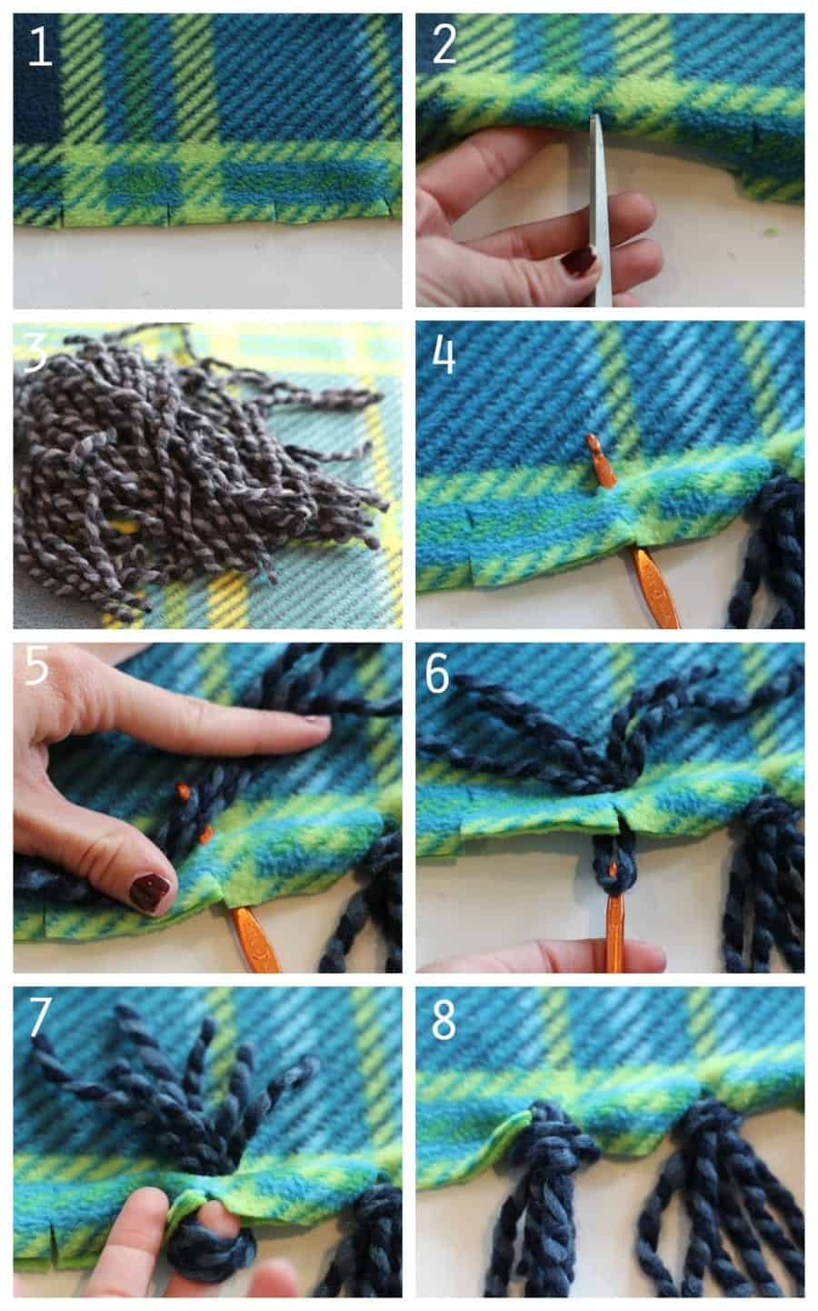 How to make a yarn fringe blanket