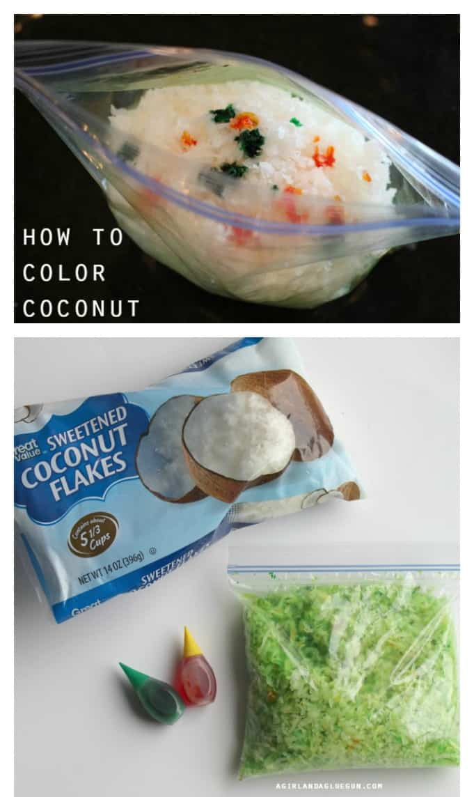 easy diy way to color coconut