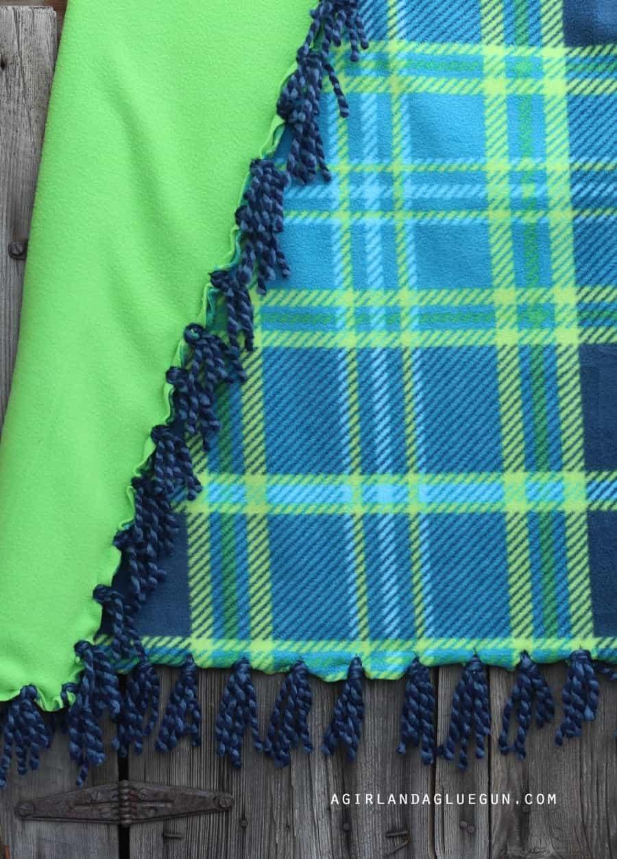 fringe blanket with yarn detail