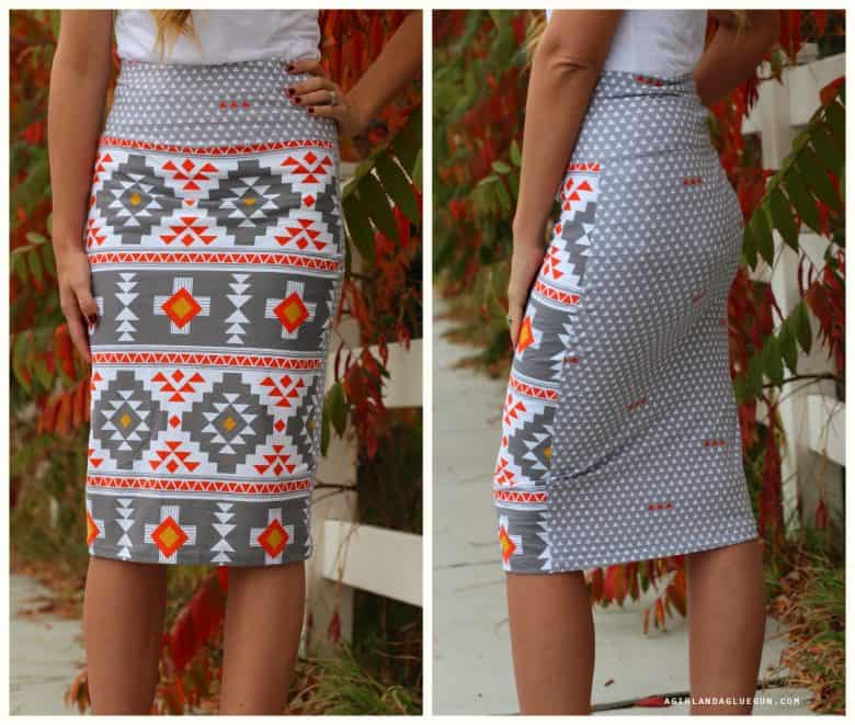 Mixed pattern knit skirt-Four Corner fabrics. - A girl and a glue gun