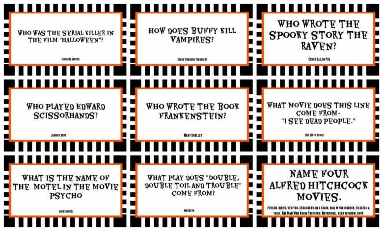 halloween trivia game with free printableskids version and adult version