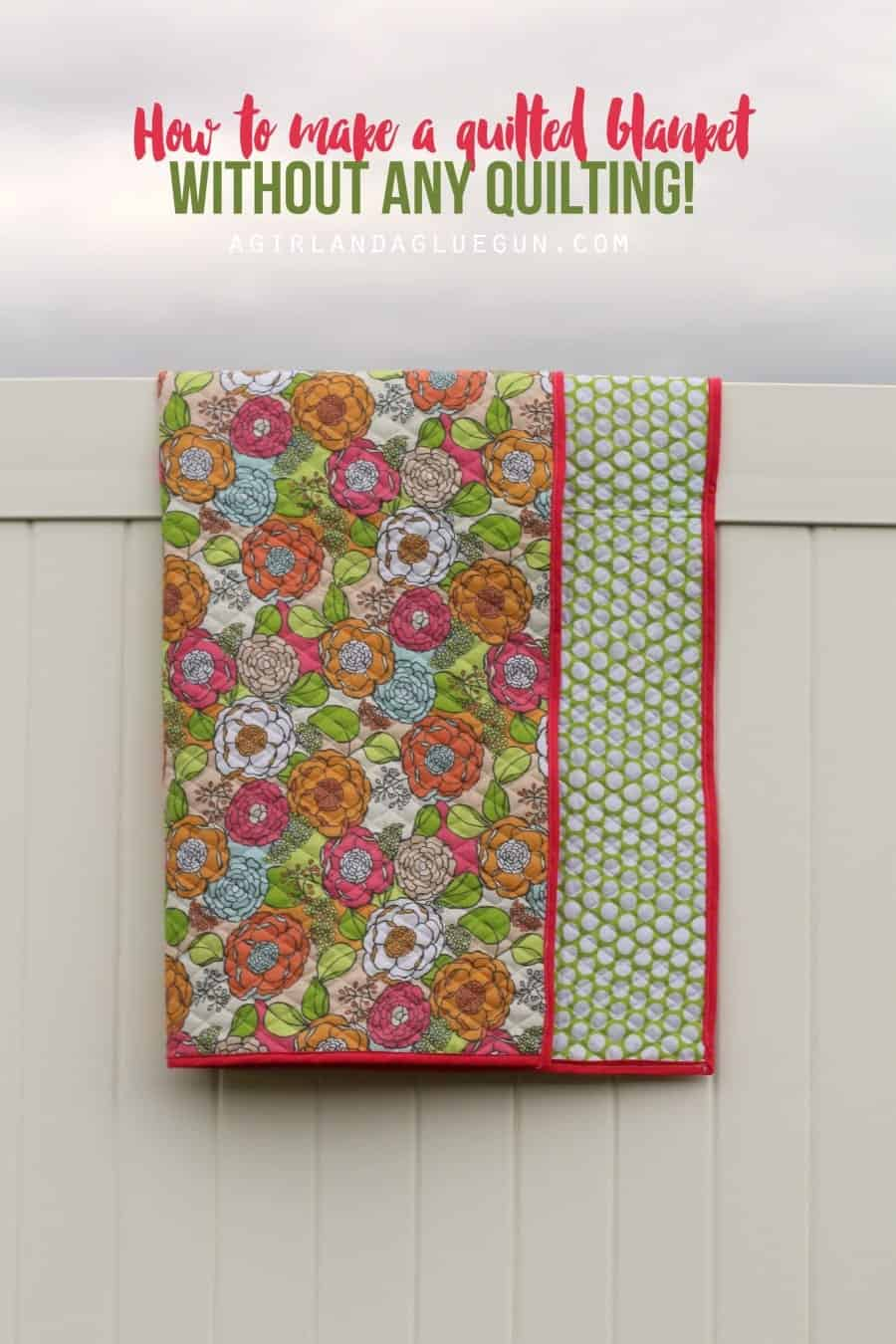 how to make a quilted blanket with very little sewing! easy knockoff!