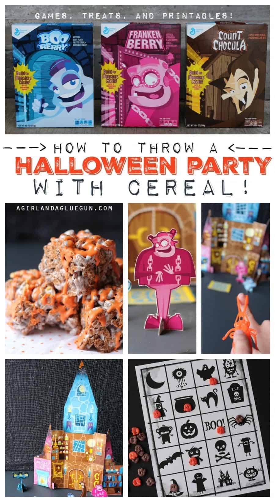 how to throw a halloween party with cereal! A girl and a glue gun #SpooktacularSnacks