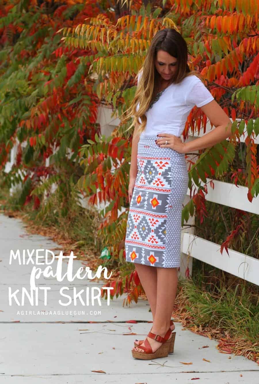 mixed pattern knit skirt four corners fabric