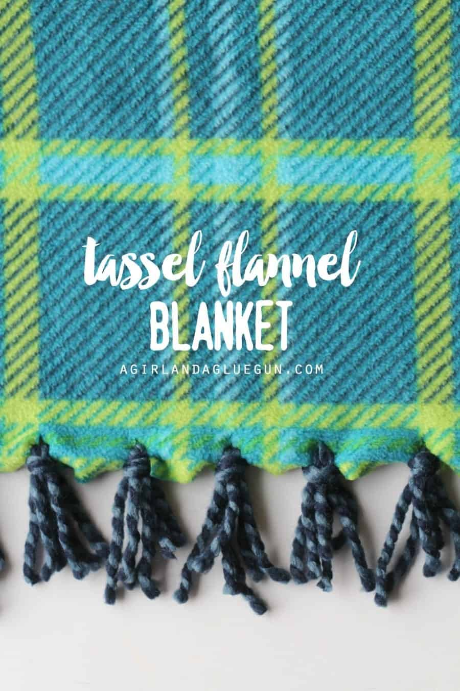 yarn tassel flannel blanket a girl and a glue gun