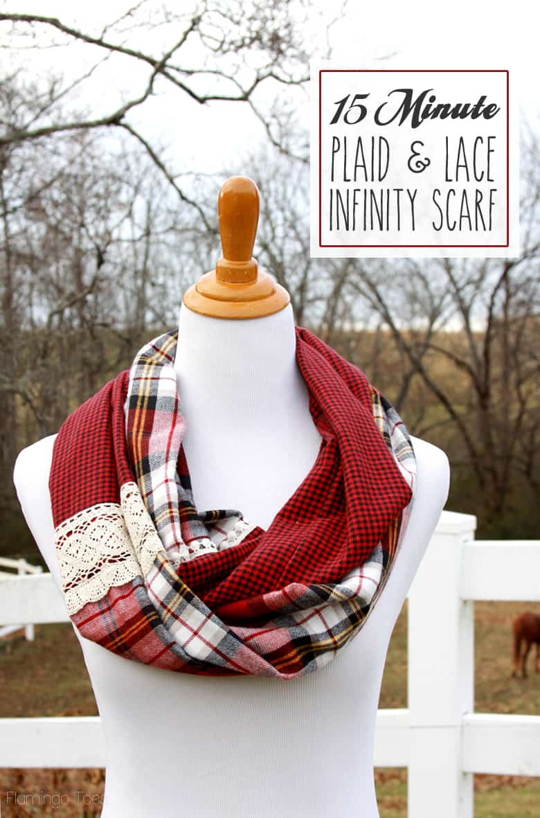 15-Minute-Plaid-and-Lace-Infinity-Scarf