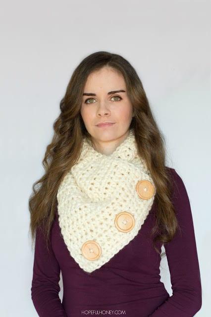 Basic Chunky Button Scarf Crochet Pattern 10