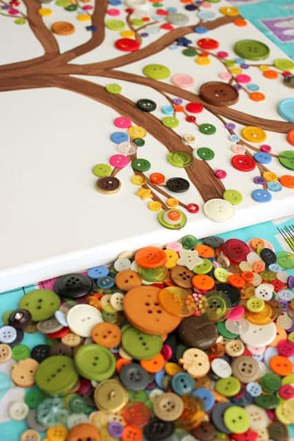 Canvas Tree Button Art