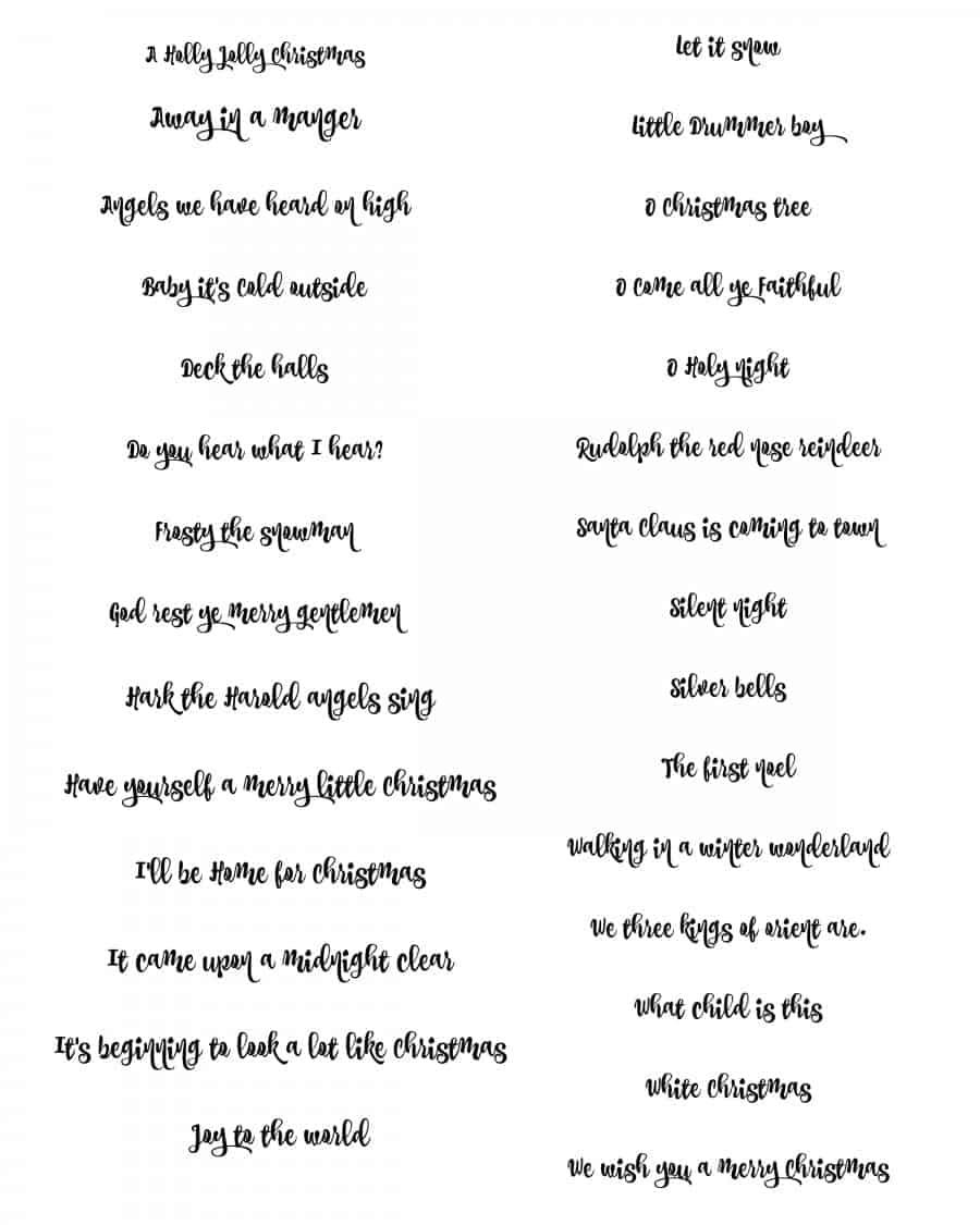 Christmas song printables perfect for caroling