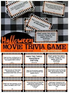 Halloween trivia game with free printables–kids version and adult version!