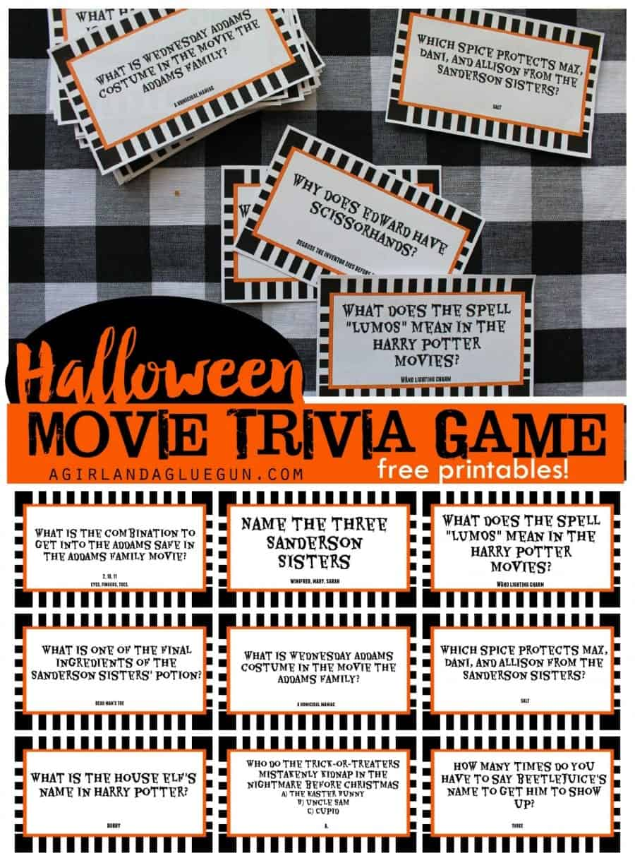 Halloween movie trivia game with free printables