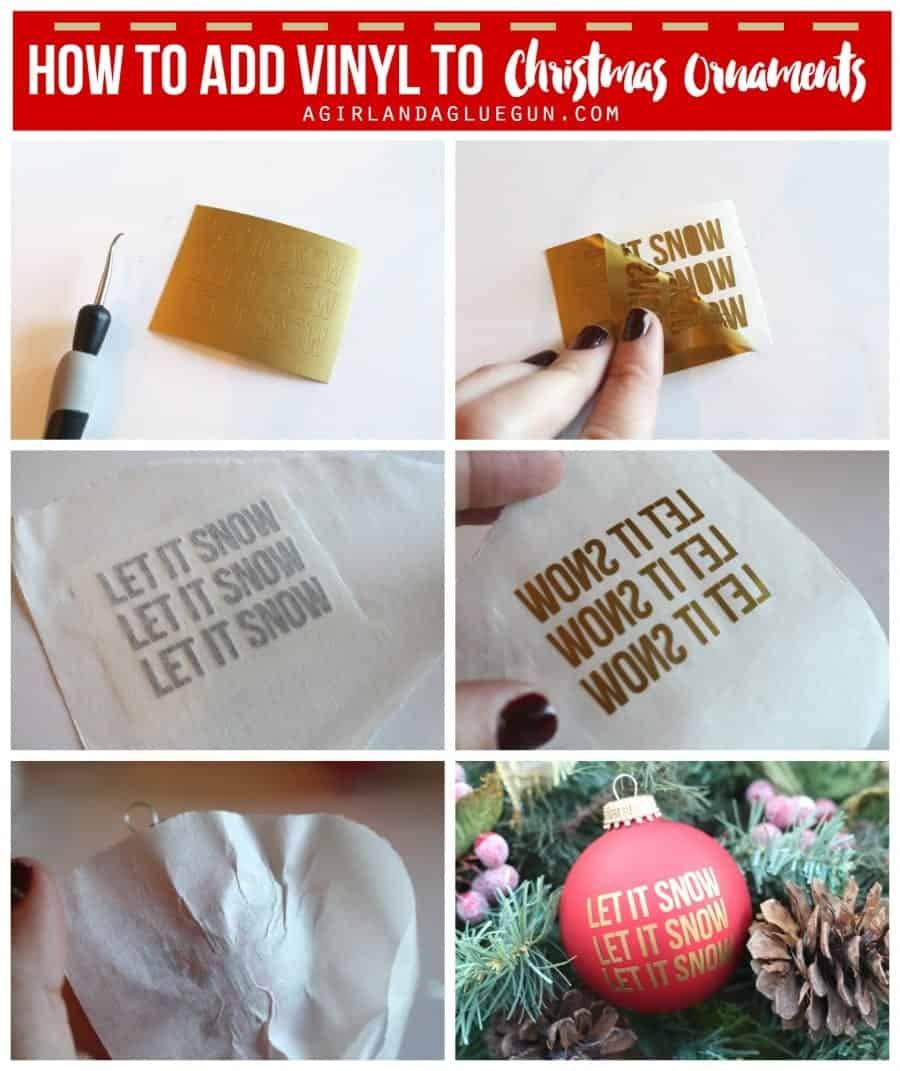 How to add vinyl to Christmas ORnaments a girl and a glue gun