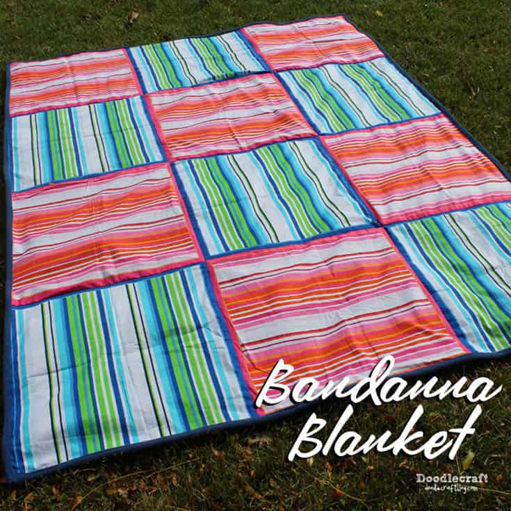bandanna blanket easy diy sewing sew fleece stripes pink red blue and green perfect fall cuddle blankie (16)