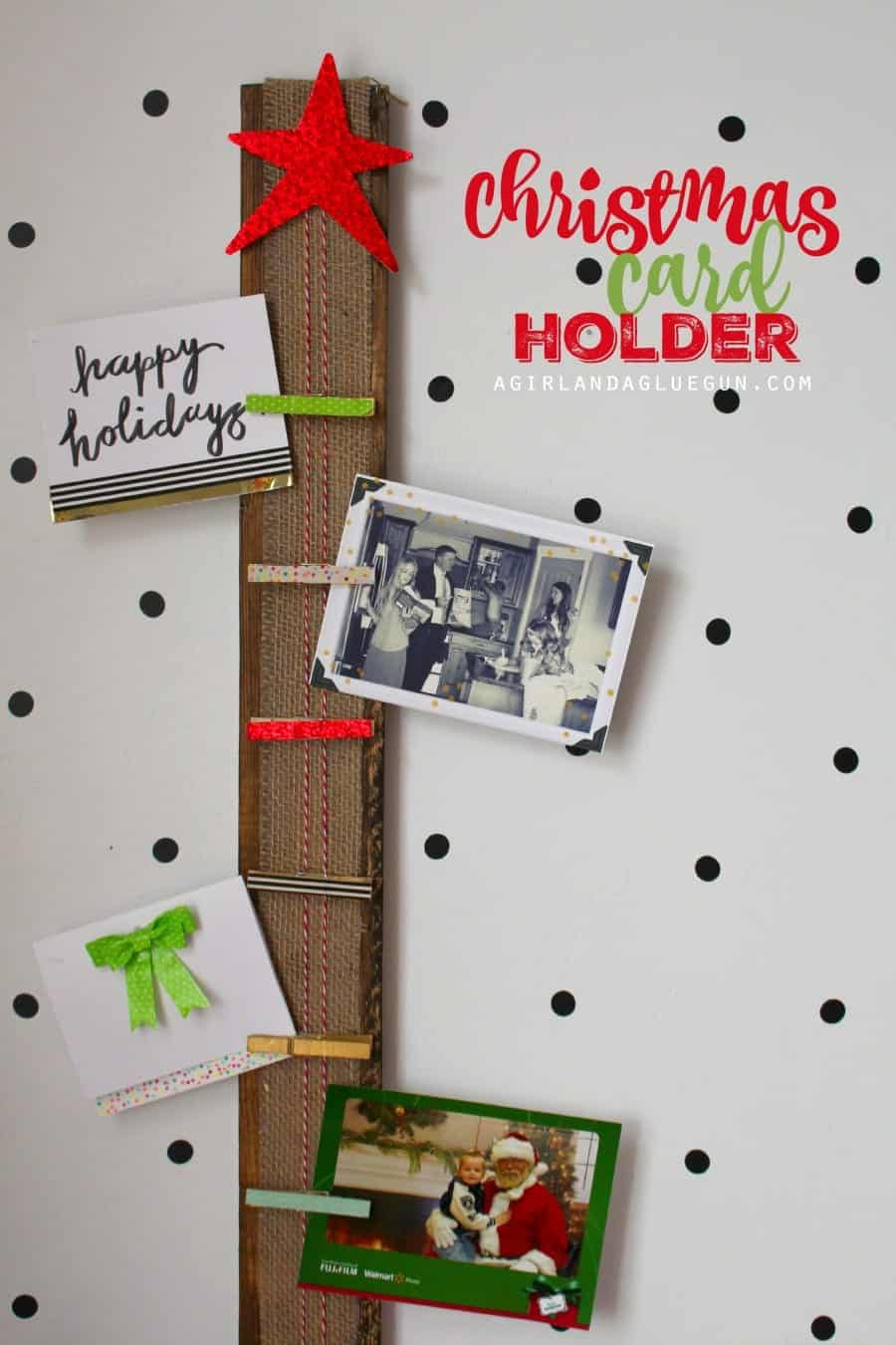 easy christmas card holder --with clothespins
