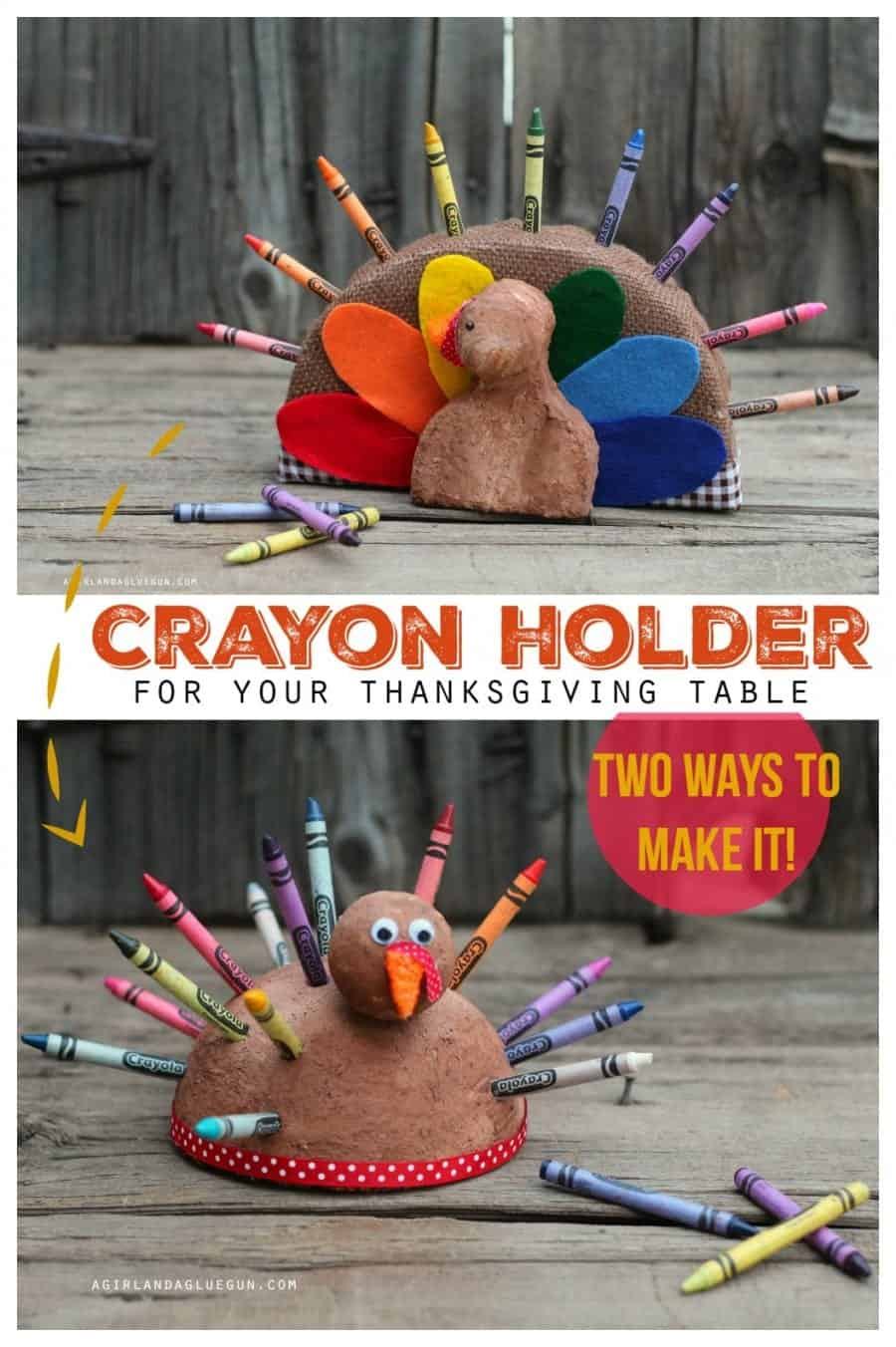 easy turkey crayons holders made with foam for your thanksgiving table