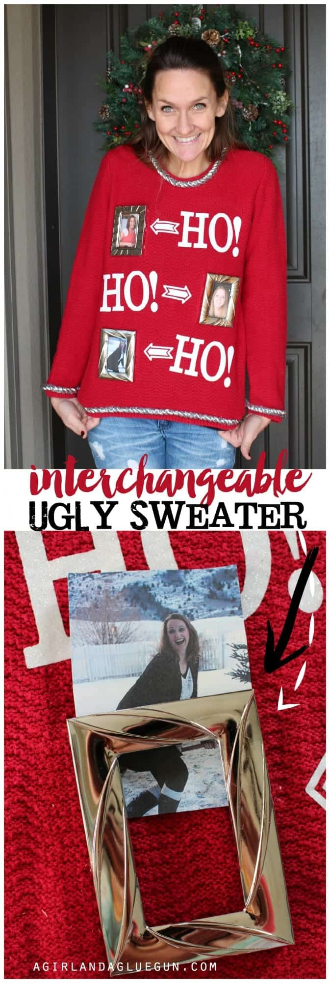 interchangeable ugly sweater idea with hot glue