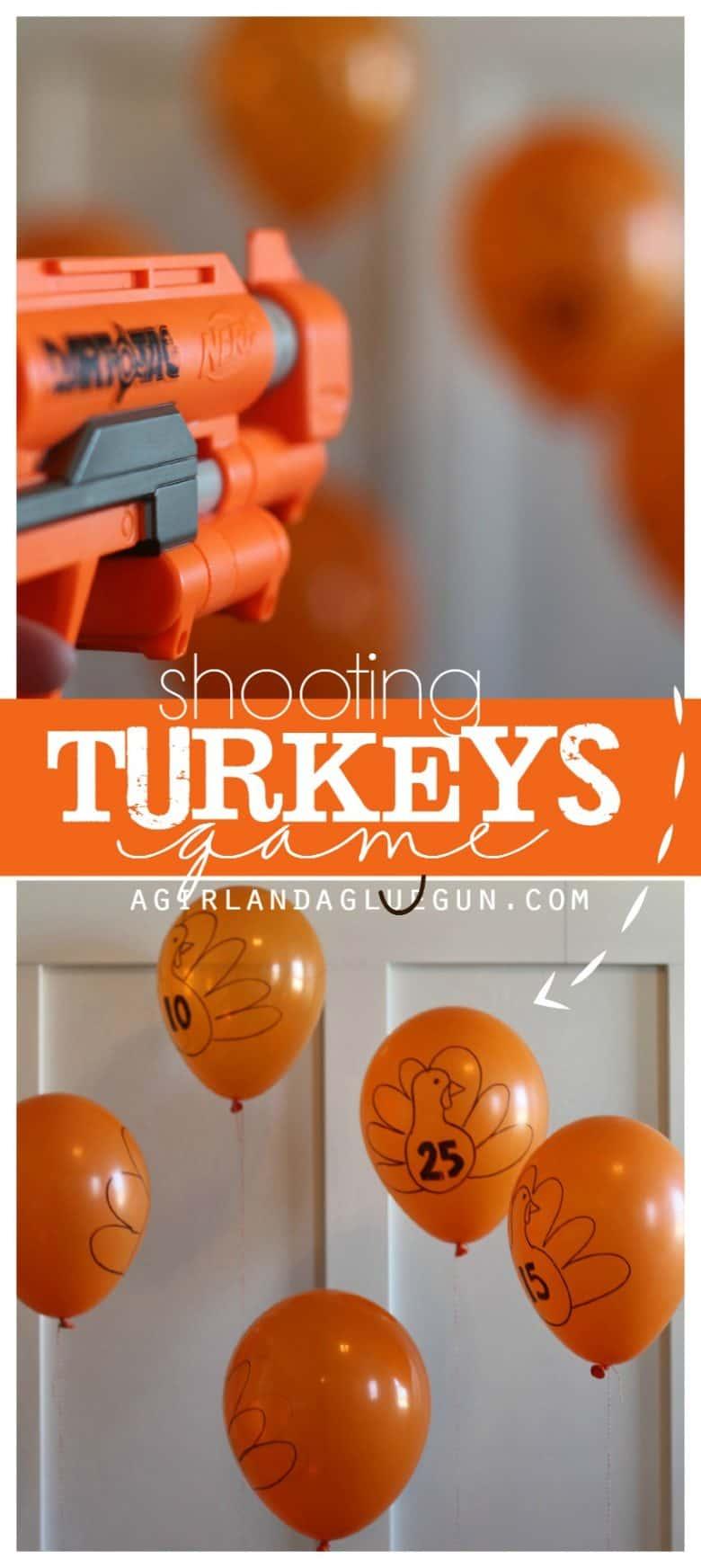 Shooting turkeys game a girl and a glue gun Fun family thanksgiving games