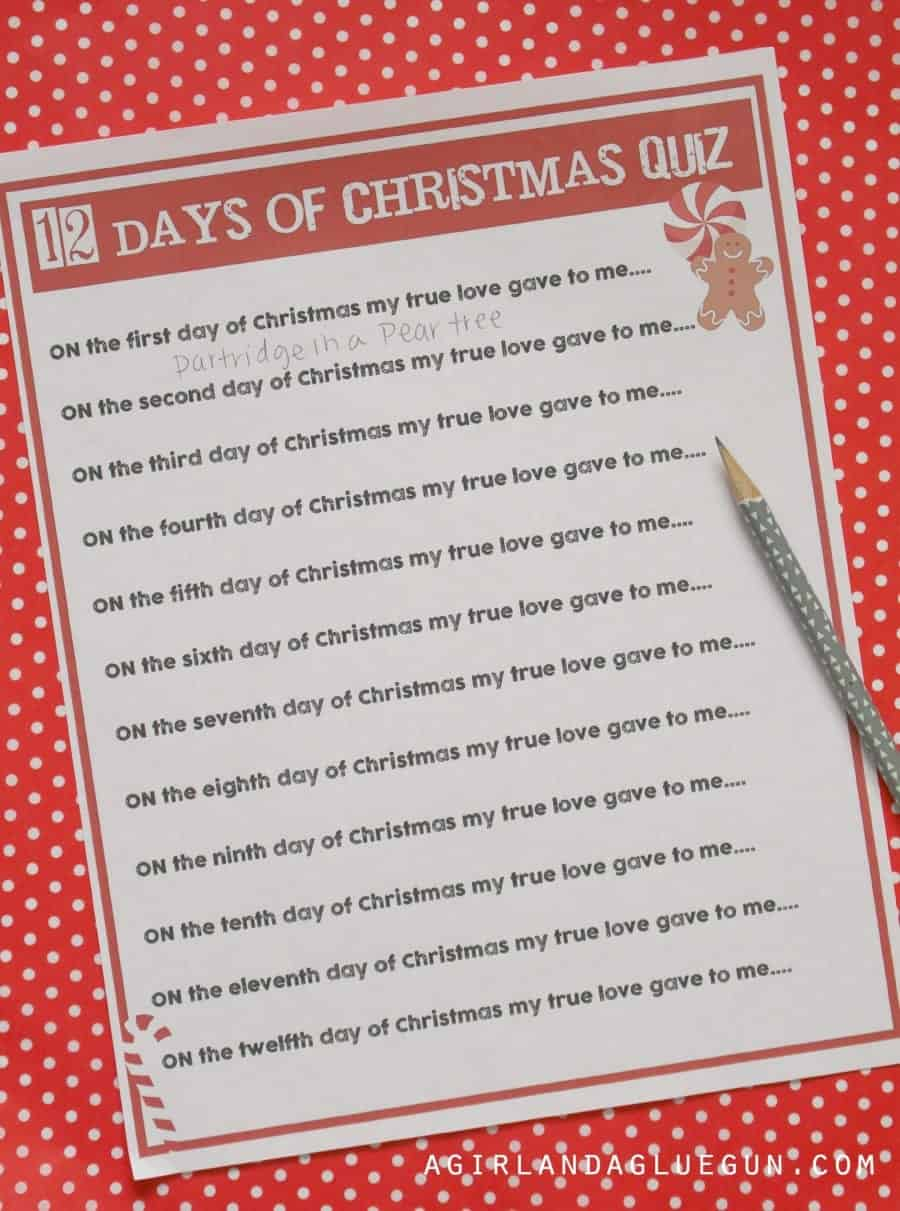12 days of Christmas quiz printable