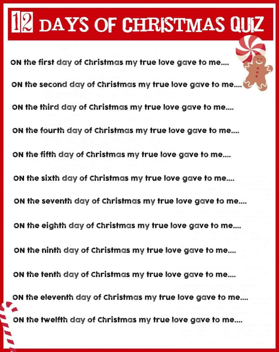 graphic regarding 12 Days of Christmas Lyrics Printable named xmas charades activity and no cost printable roundup! - A lady