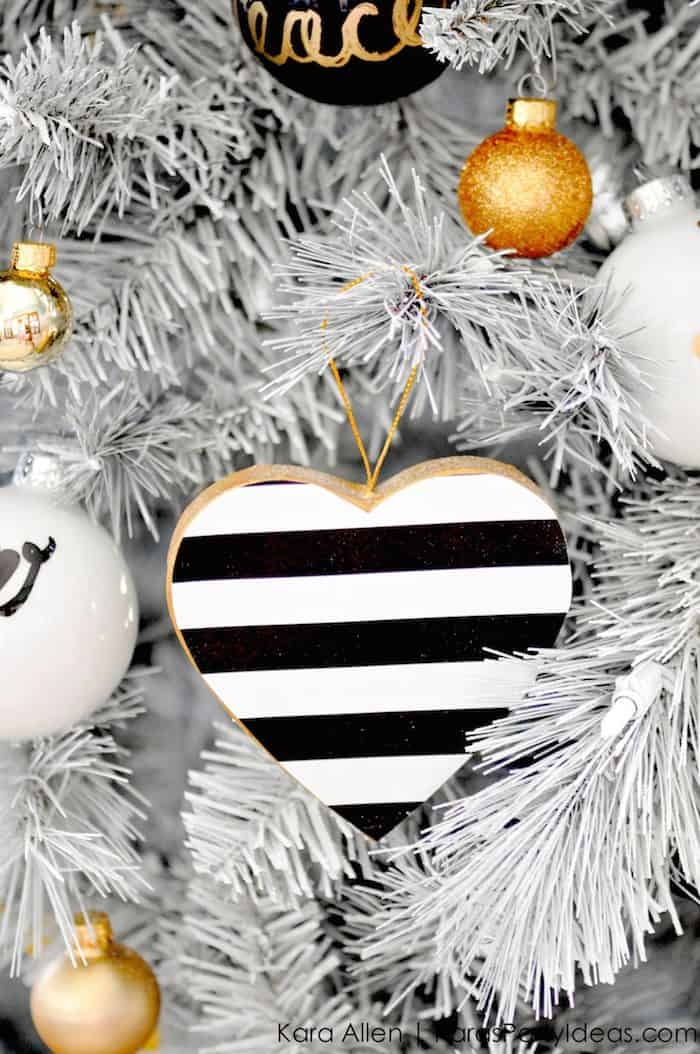 black and white christmas ornaments gold black and white striped polka dot modern