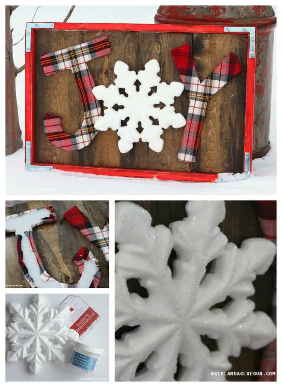 Joy sign using Floracraft® foam sheets and snowflake- a girl and a glue gun