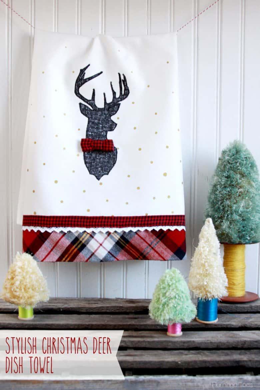 Stylish-Christmas-Deer-Dish-Towel