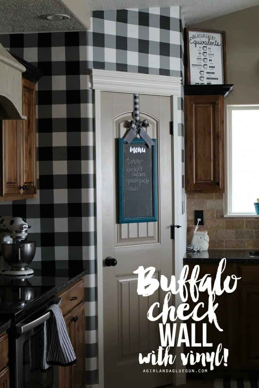 Buffalo Check Wall With Vinyl A Girl And A Glue Gun