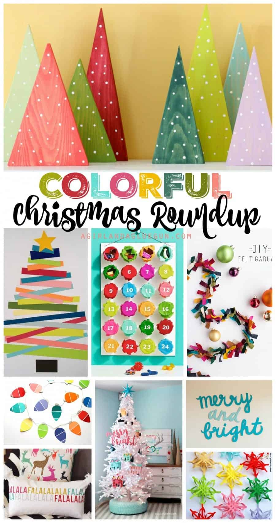 colorful Christmas roundup--tons of fun projects with loads of great colors! a girl and a glue gun