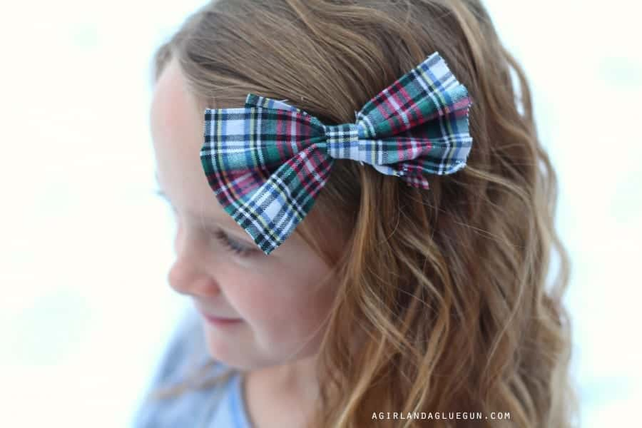 flannel hair bow