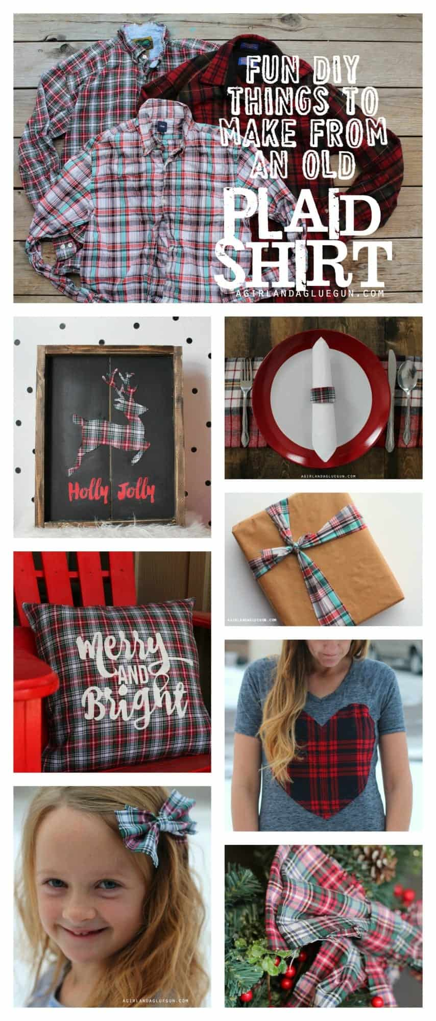 fun diy things to make from an old plaid shirt--a girl and a glue gun