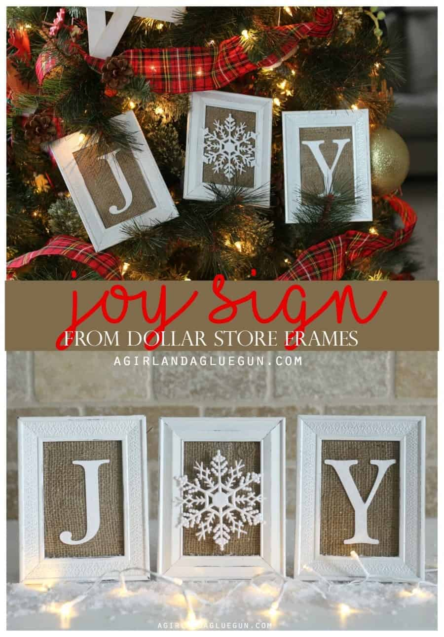 joy sign from dollar store frames and expressions vinyl