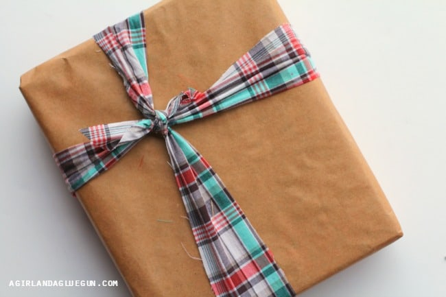 plaid wrapped present