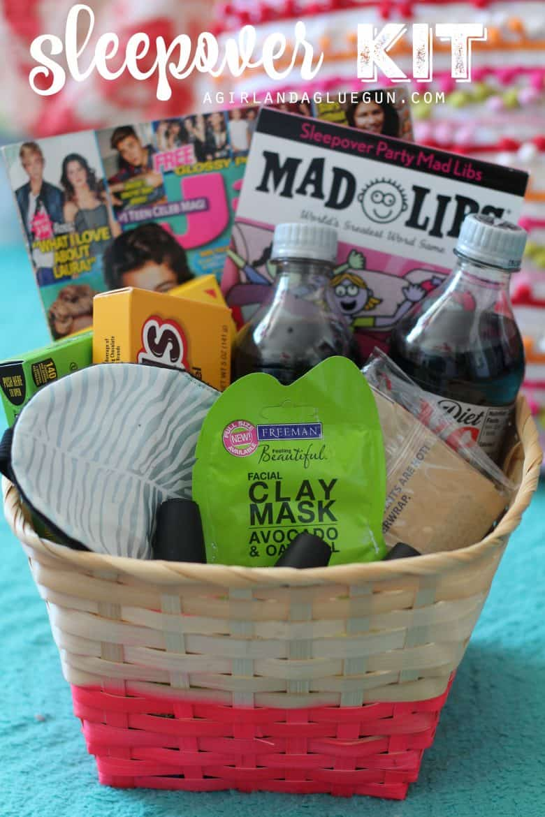 Themed gift basket roundup a girl and a glue gun 10 sleepover kit sleepover kit solutioingenieria Images
