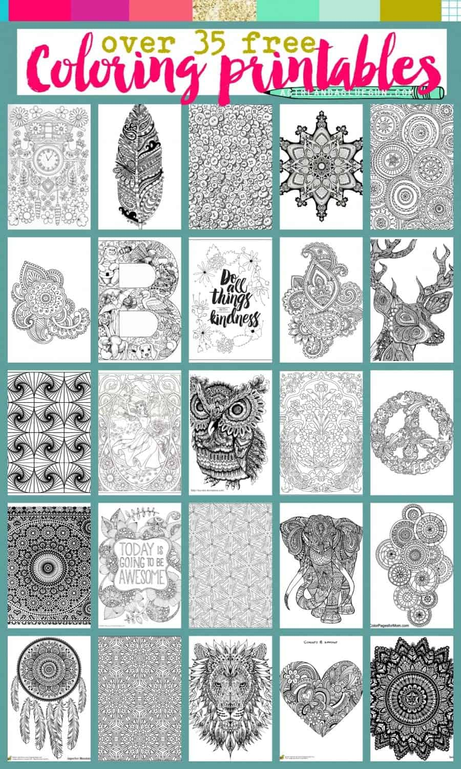 35 free coloring printables for adult coloring. Awesome prints and pages