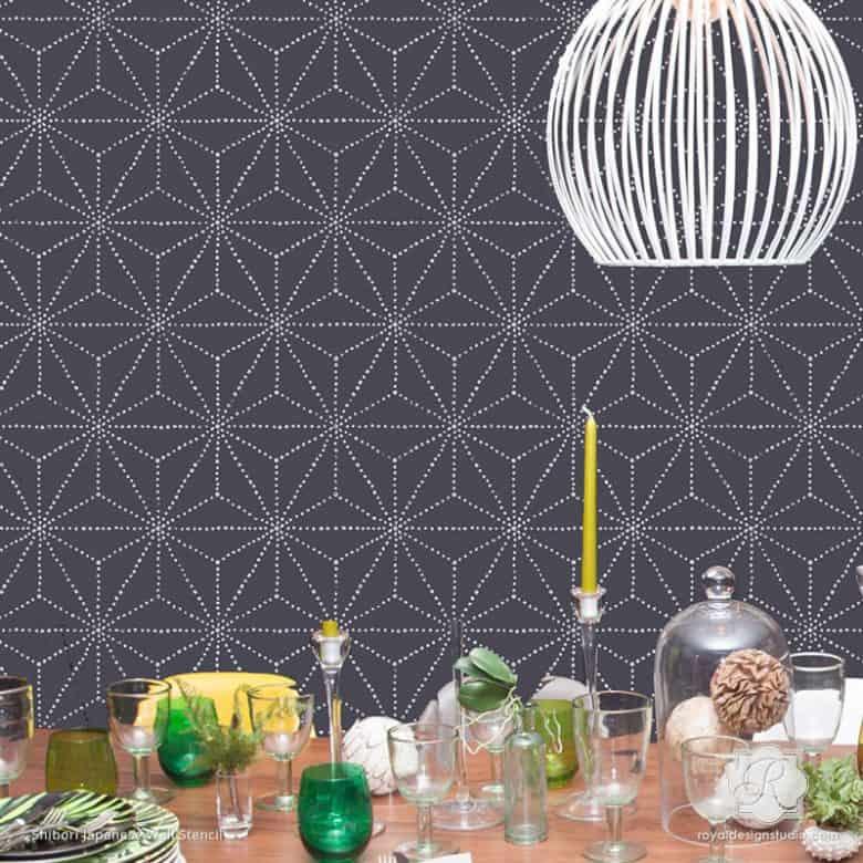 6256L-shibori-japanese-decor-wall-stencils