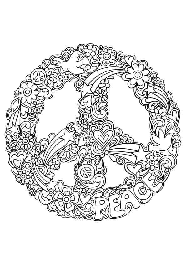 coloring pages peace love - photo#27