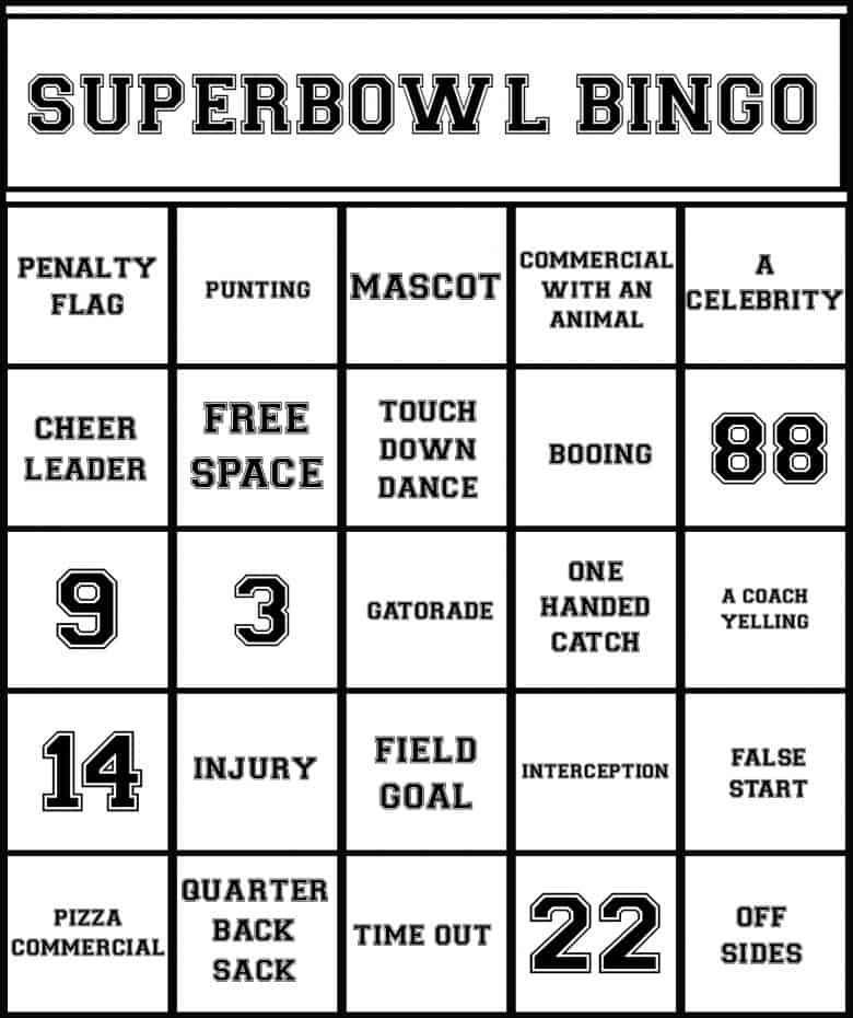 Dramatic image with regard to printable super bowl bingo cards