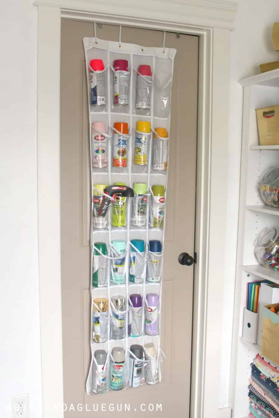 closet craft room--spray paint storage